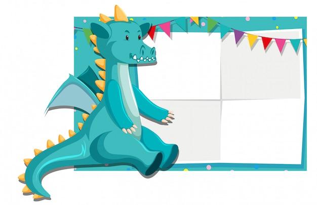 Динозавр на бумажной окантовке