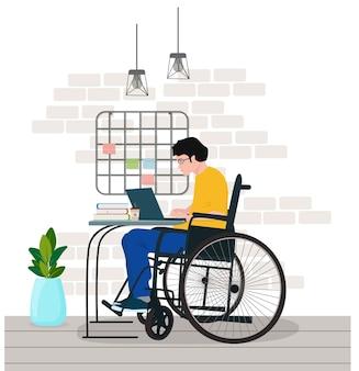 Фрилансер-инвалид в инвалидном кресле работает дома. концепции трудоустройства инвалидов.