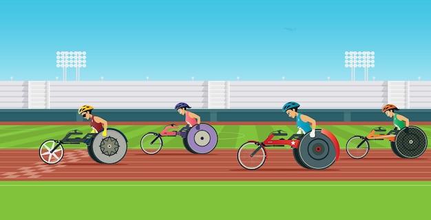 車椅子の障害者ランナーがスタジアムで競い合っている