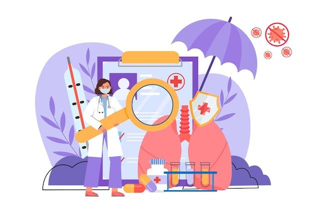폐 검사를하는 의사