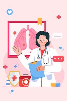 肺炎を説明する医師