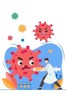 백신으로 covid-19와 싸우는 의사