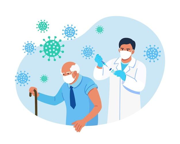 Врач делает прививку от коронавируса пожилому мужчине. вакцинация пожилым людям для укрепления иммунитета здоровья от covid-19. иммунизация взрослых