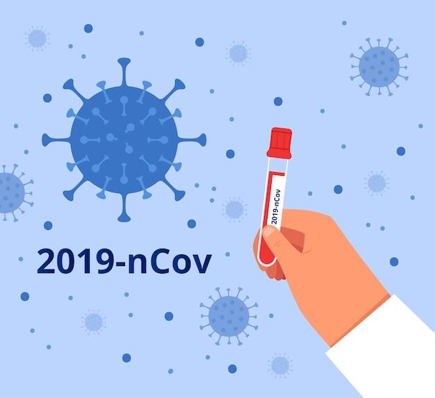 Врач держит пробирку с кровью, чтобы проверить ее на новый коронавирус 2019-ncov. концепция борьбы с covid-2019. плоский