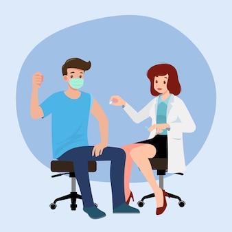 男性にコロナウイルスワクチンを接種しているクリニックの医師。免疫の健康のための予防接種の概念。医療へのウイルス予防、人々のためのcovid-19に対する予防接種のプロセス。