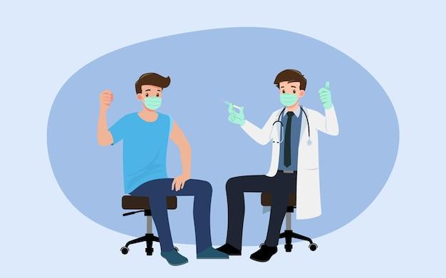 한 남성에게 코로나 바이러스 백신을 투여하는 병원의 의사. 면역 건강을위한 예방 접종 개념.