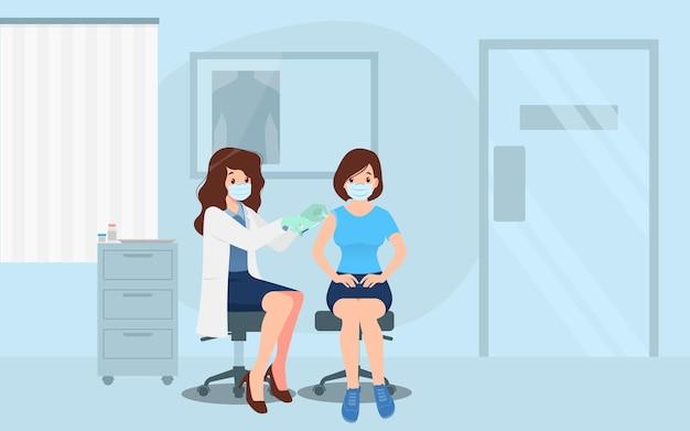 女性にコロナウイルスワクチンを接種しているクリニックの医師。免疫の健康のための予防接種の概念。医療へのウイルス予防、人々のためのcovid-19に対する予防接種のプロセス。