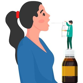의사는 목구멍 스프레이로 환자에게 목을 치료합니다. 의학 개념, 질병 치료 개념입니다. 인후염 치료. 의학 의료 개념입니다. 의료 배경입니다. 의료 배경입니다.