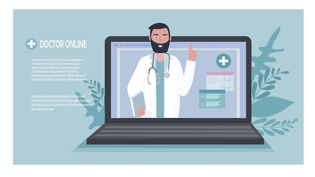 ノートパソコンの画面に聴診器を持っている医師がオンラインで患者と話します