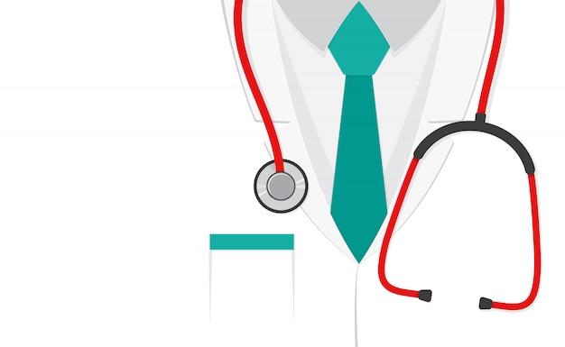 Костюм врача или лабораторный халат со стетоскопом