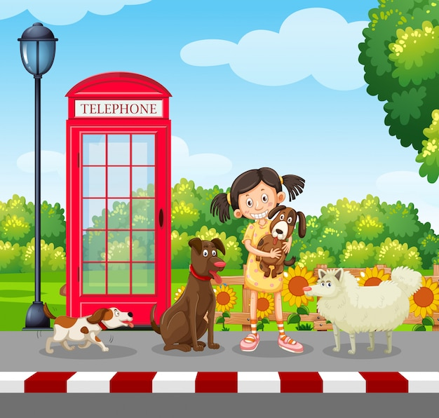 Любитель собак в парке
