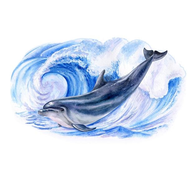 Шаблон акварельной иллюстрации дельфина и реалистичной морской волны