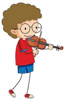 孤立したバイオリンの漫画のキャラクターを再生する落書きの子供