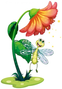 花の下を飛ぶトンボ