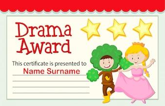 A drama award certificate