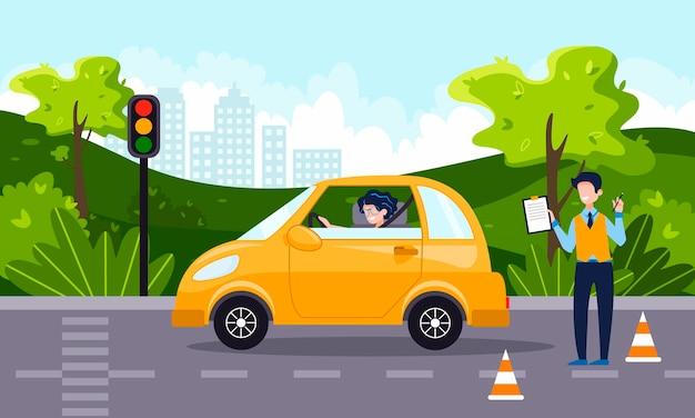 운전 강사가 행복한 젊은 여성에게 자동차 운전을 가르칩니다. 운전 학교 개념, 운전 면허증, 교통 규칙 및 테스트. 벡터 평면 그림입니다. 배경에 자연 풍경입니다.