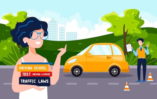 운전 강사는 여자에게 운전 학교 개념 운전 면허증 교통 규칙 테스트를 가르칩니다