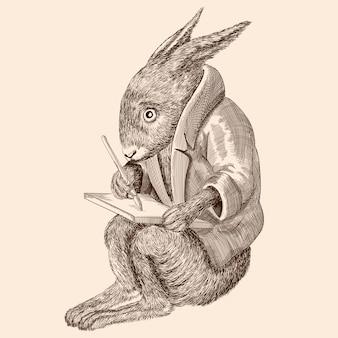 Сказочный животный заяц в куртке сидит и пишет на планшете.