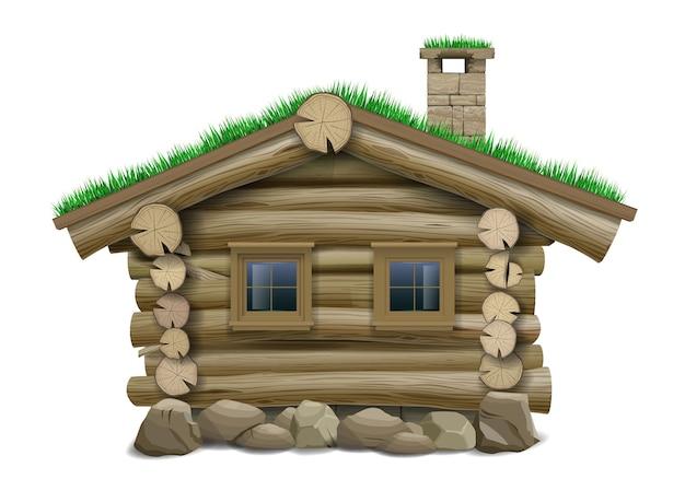 Сказочный старый деревянный бревенчатый дом на сваях. вектор. дом хоббита или гнома.