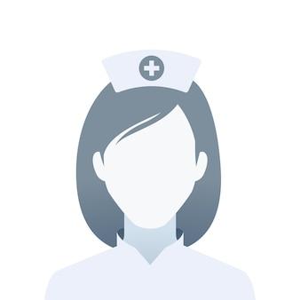 看護師の顔のない肖像画。孤立したベクトル図