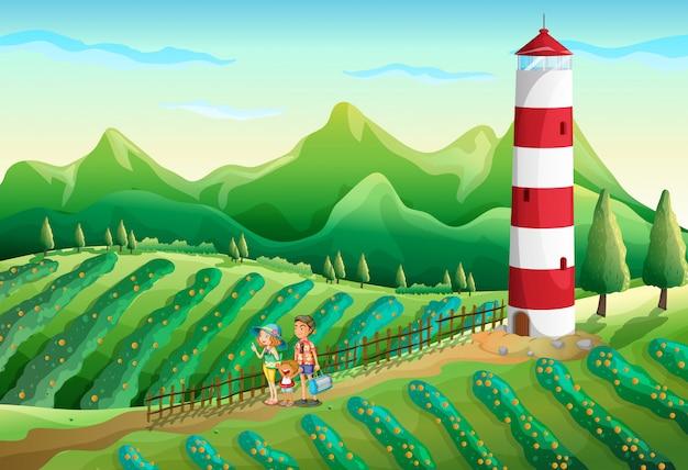 塔の近くの農場で家族
