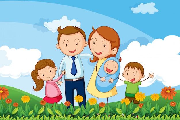 Семья на холмах Бесплатные векторы