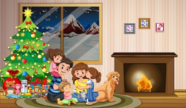 크리스마스를 축하하는 가족