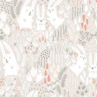 흰 토끼의 가족은 베이지 색 톤의 꽃과 허브로 토끼풀을 만듭니다. 완벽 한 패턴입니다. 유치 한 만화 손으로 그린 스칸디나비아 스타일의 귀여운 동물. 포장, 섬유, 직물
