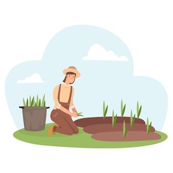 農民は畑にすべての種を植えています
