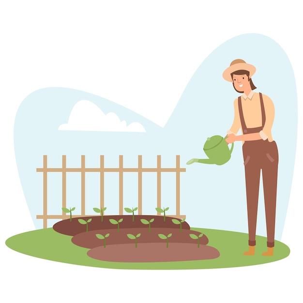 농부가 오후에 농작물에 물을주고 있습니다.