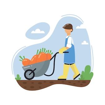 Фермер толкает тачку с морковью. мужчина в резиновых сапогах. сельскохозяйственный рабочий.