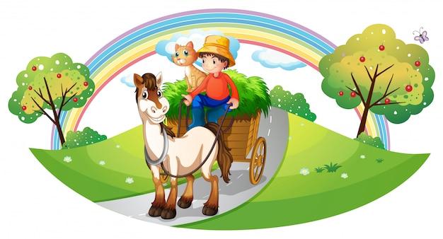 町の農家のペットと農夫