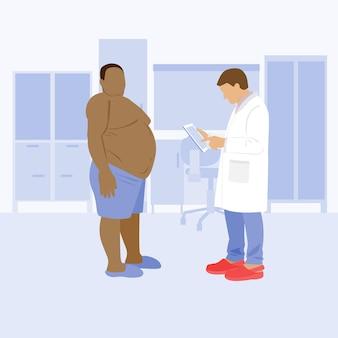 병원에 있는 뚱뚱한 흑인 비만 환자가 병원에 체중 조절을 하고 있다