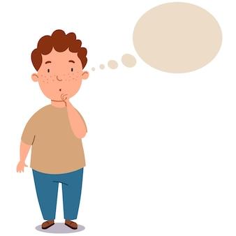 ズボンとtシャツを着た太った縮れ毛の少年。子供はアイデアについて考えています。学生はそれについて考えます。テキスト用のクラウド。白い孤立した背景の上のベクトル図。
