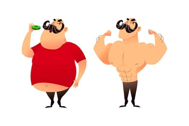 뚱뚱한 남자와 운동 선수 전후 프리미엄 벡터