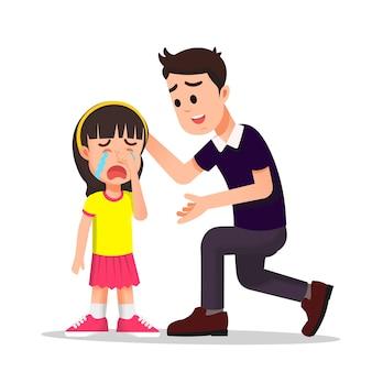Отец утешает свою плачущую дочь