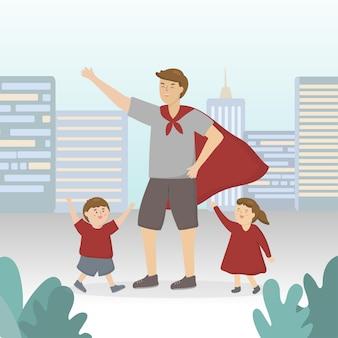 息子と娘と遊ぶためにスーパーヒーローに扮した父親