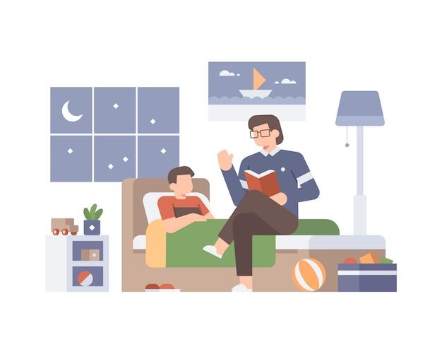Отец читает сказку своему сыну, прежде чем спать на кровати