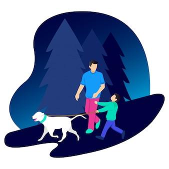 父親は子供ととても美しい犬と一緒に夜歩いています