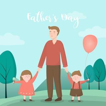 父親が息子と娘を導き、住宅地域での父の日のイベントに連れて行ってくれる息子と娘はヒーローの父親に満足している