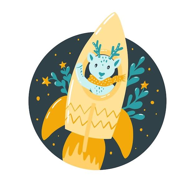 로켓의 새끼 사슴이 우주를 날고 있습니다. 스칸디나비아 스타일의 어린이 삽화. 상표,