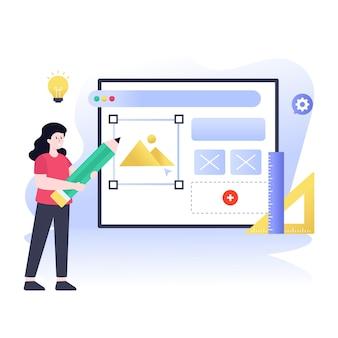 웹 사이트 평면 그림에서 작업하는 여성 디자이너