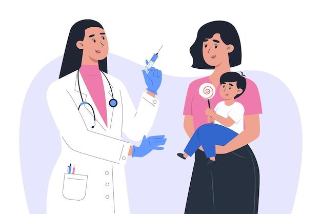 マスクと手袋をはめた女性医師が子供の患者にワクチンを作る