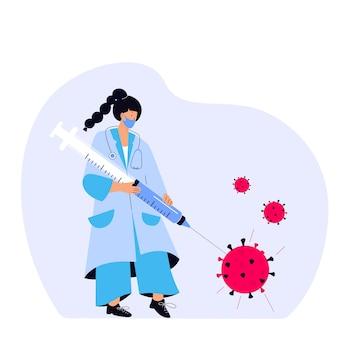 女性医師がコロナウイルスワクチンを入れた巨大な注射器でウイルスを刺しました。予防接種キャンペーン。予防接種の時間です。