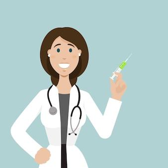 女医が立ってワクチンの注射器を持っているワクチン接種時間再びウイルス