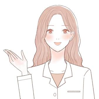 案内される女医。白い背景に。