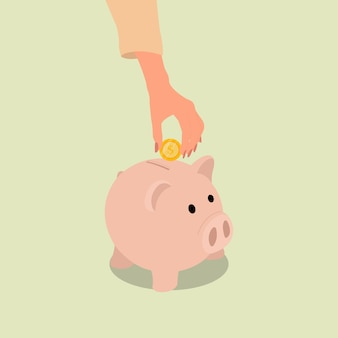 여성 손 절약을 위해 돼지 저금통에 동전을 넣어. 평면 스타일 디자인 벡터