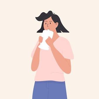 Женщина, проходящая медицинский экспресс-тест genose c19. пациент выдохнул в полиэтиленовый пакет. устройство алкотестера коронавируса анализирует образец дыхания. медицинское тестирование covid. векторная иллюстрация.