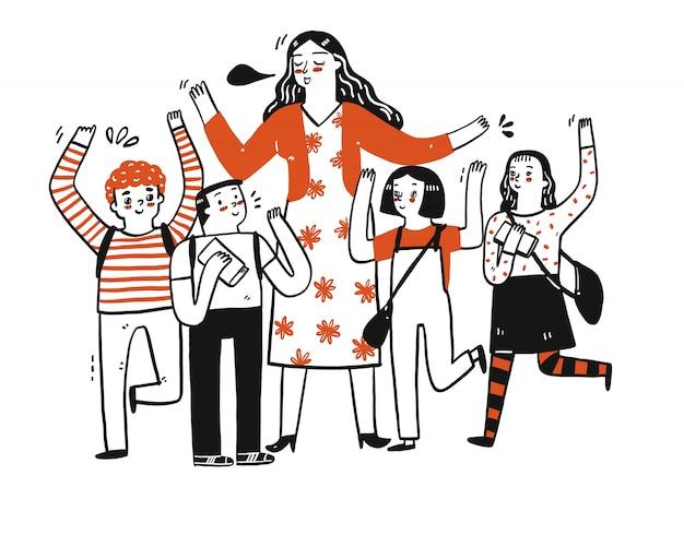 여성 교사와 학생들이 축하, 성공 또는 행복을 표현합니다.