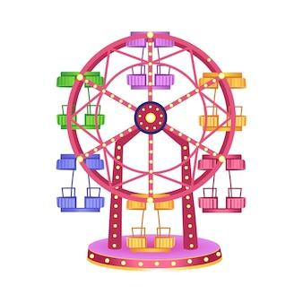 Колесо обозрения для детей на белом фоне парк развлечений векторная иллюстрация